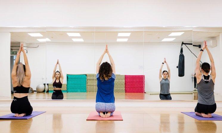 Three women in yoga class at Manawatū Rec Centre