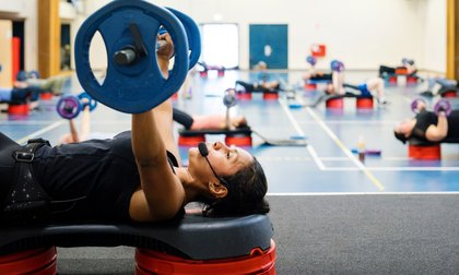 Women lifting weights in a group fitness class at Manawatū Rec Centre