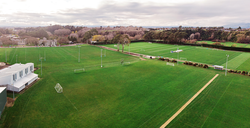 Aerial photo of 11 field spaces for events and sports games including rugby, football, and Ultimate Frisbee.