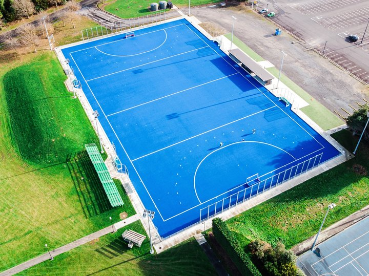 Aerial photo of the outdoor basketball court at Manawatū Recreation Centre