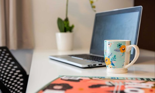 Close-up of laptop on a desk with a coffee mug and a plant