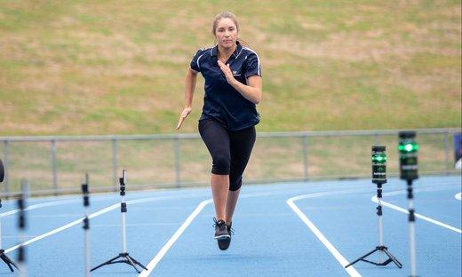A Massey student running track at the Manawatu campus
