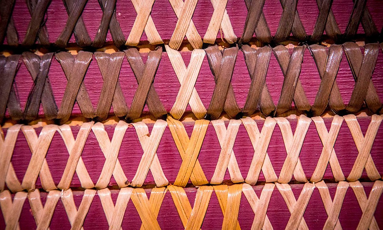 Close-up of traditional Māori weaving