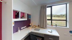 Studio Unit with desk and chair, with rural views