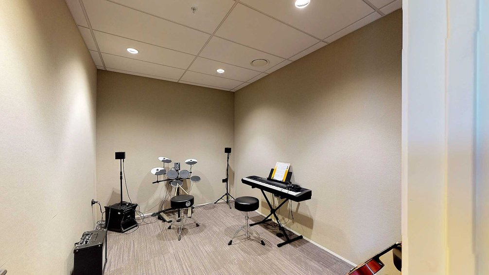 Te Rito music room with a keyboard and drum kit