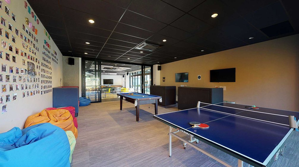 Te Rito common area with beanbags, table tennis table and pool table