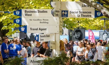 Close-up of signpost and students at Orientation