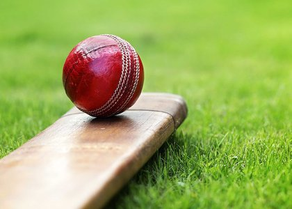 Close-up of cricket ball and bat
