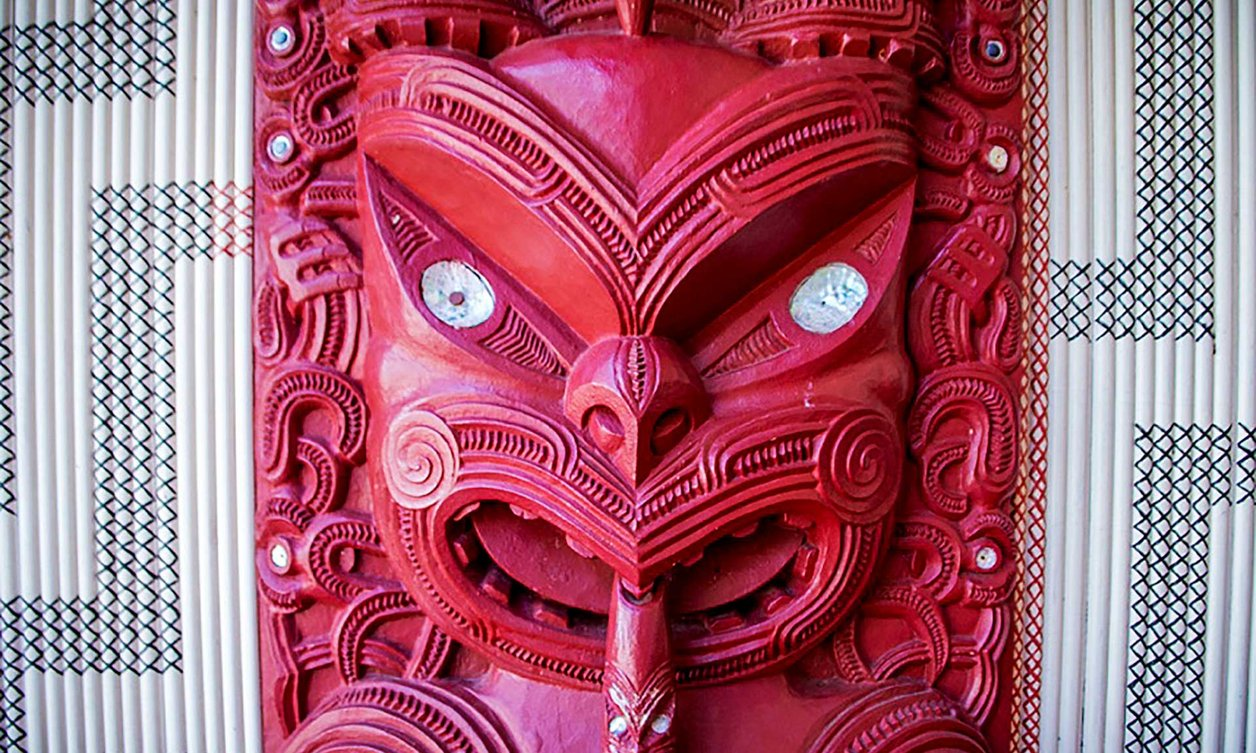 Close-up of traditional wooden Māori carving