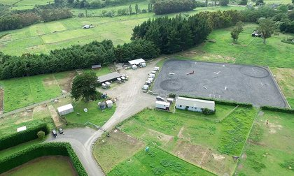Aerial photo of the Equestrian Centre, showing large outdoor arena