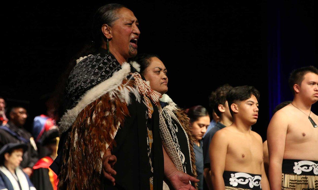 Māori welcome by people wearing traditional Maori costume
