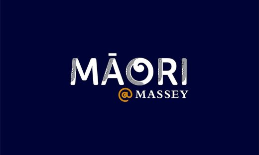 A logo with white words of Māori @ Massey on a navy background