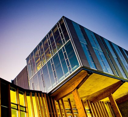 Building at night on the Wellington campus