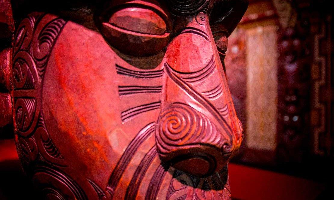 Detail of a Maori carving at Waitangi