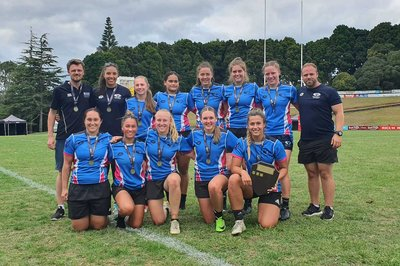 Massey women's rugby sevens team beat Waikato to the title in 2019.