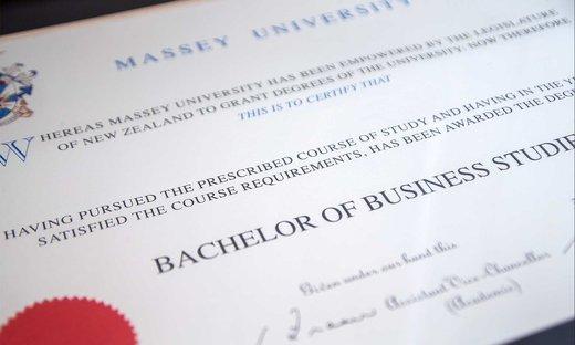 Close-up of a graduation certificate